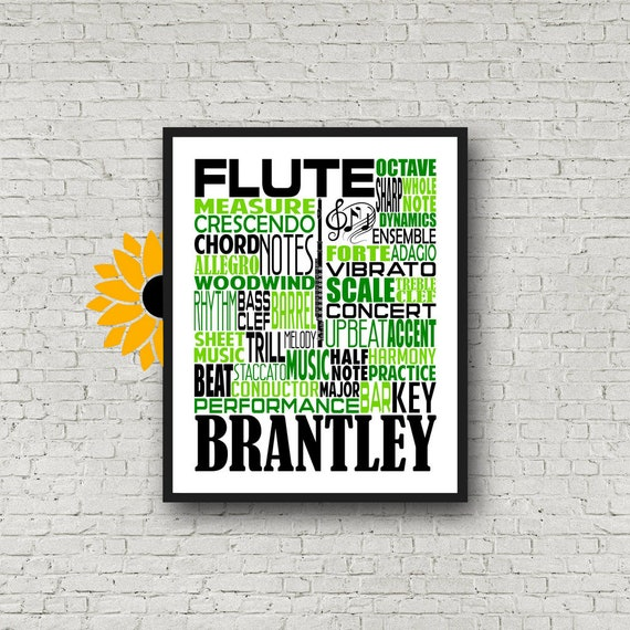 Flute Typography, Personalized Flute Poster, Flute Player Gift, Flute Art, Marching Band, Gift for Flute Player, School Band Gift