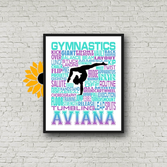 Male Gymnastics Typography, Personalized Gymnastics Poster, Pommel Horse, Still Rings, Parallel Bars, Horizontal Bar, Floor Exercise