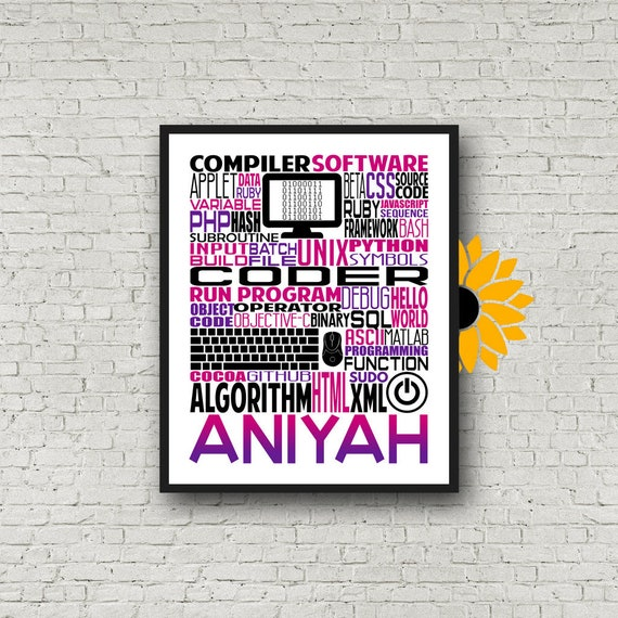 Personalized Computer Coding Poster, Coding Typography, Gift for Computer Coder, Computer Programmer Gift, Coding Gift, Coder Gift