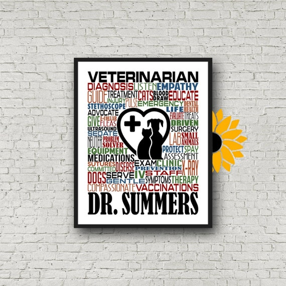 Veterinarian Typography, Personalized Veterinarian Poster, Vet Gift, Gift for Veterinarian, Vet Typography, Gift for Veterinarian