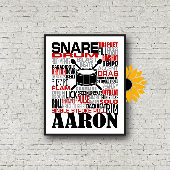 Snare Drum Typography, Personalized Snare Drummer Poster, Gift for Drummers, Percussion Art, Snare Drum Art, School Band Gift, Marching Band