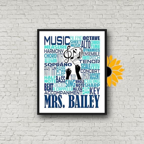 Choir Teacher Gift, Gift for Music Teacher, Choir Director, Conductor Gift, Chorale Gift,Personalized Choir Poster, Music Teacher Typography