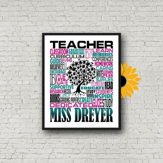 Teacher Typography, Personalized Teacher Poster, Teacher Inspiration Gift, Educator Gift, Gift for Teachers, Teacher Print, Teacher Art