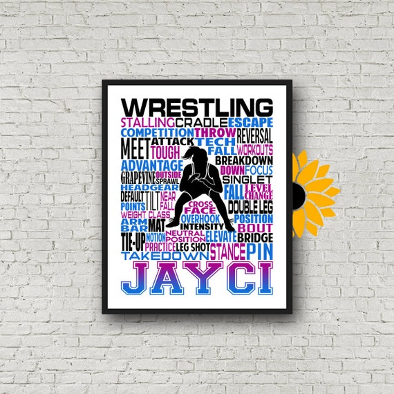 Personalized Wrestling Poster, Female Wrestling Poster, Personalized Girl Wrestler Poster,  Wrestling Typography, Wrestling Team Gift