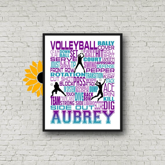 Personalized Volleyball Poster, Volleyball Typography, Volleyball Team Gift. Volleyball Print, Volleyball Art, Gift for Volleyball Player
