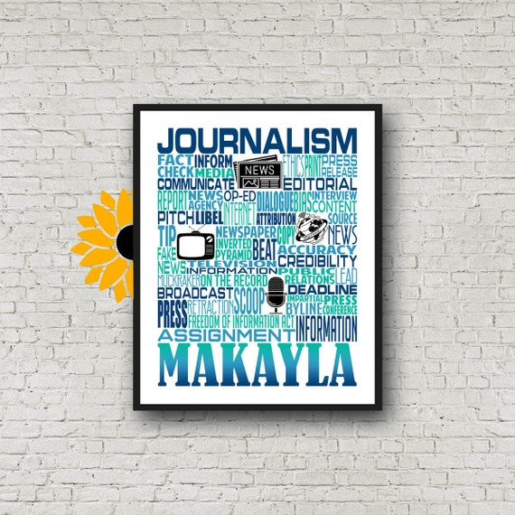 Gift for Journalism Teacher, Journalist Gift, Journalism Typography, Personalized Journalism Teacher Poster, Journalist Typography