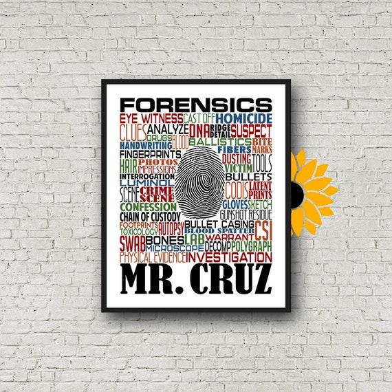 Personalized Forensics Teacher Poster, Forensics Typography, Forensics Teacher Gift, Gift for Forensics Teacher, Crime Scene Investigator