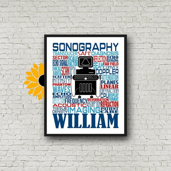Sonography Typography, Personalized Sonographer Poster, Sonography Gift, Ultrasound Tech Gift, Gift for Sonographer, Rad Tech Week