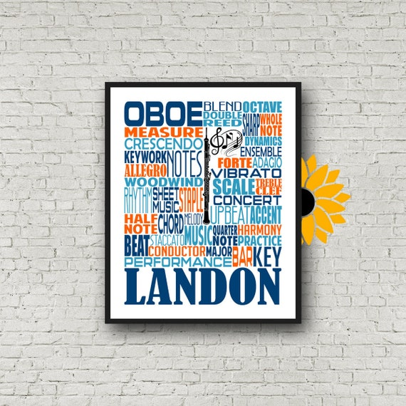 Personalized Oboe Poster, Oboe Typography, Oboe Player Gift, Oboe Gift, Band Gift, Gift for Oboe Player