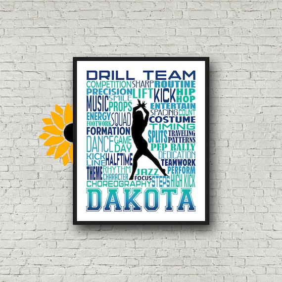 Personalized Dance Team Poster, Gift for Drill Team, Dancing Art, Dancing Print, Drill Team Typography,  Drill Team Gift, Custom Dancer