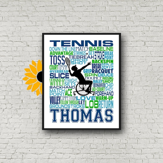 Wheelchair Tennis Player Gift, Personalized Wheelchair Tennis Poster, Wheelchair Tennis typography, Adaptive Sports Gift, Tennis Gift