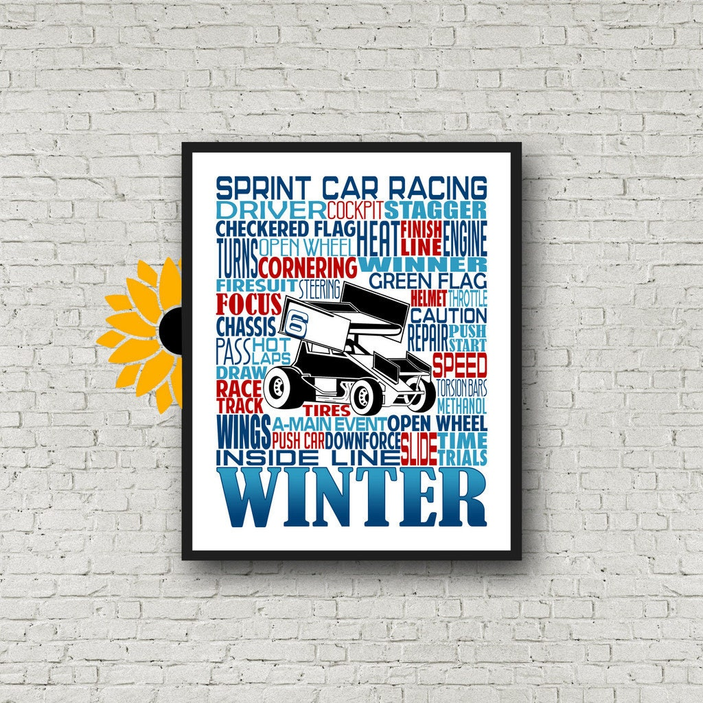 Sprint Car Gift Sprint Car Typography Personalized Sprint Car Poster Gift For Sprint Car Driver Race Car Driver Gift Dirt Track Racing