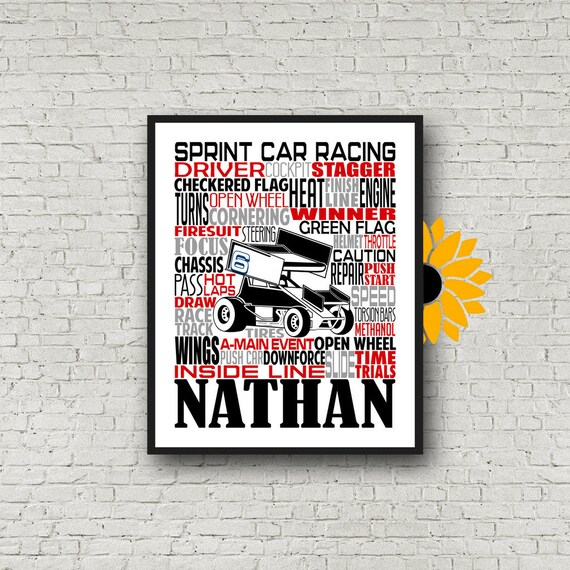 Personalized Sprint Car Poster, Sprint Car Gift, Sprint Car Typography, Gift for Sprint Car Driver, Race Car Driver Gift, Dirt Track Racing
