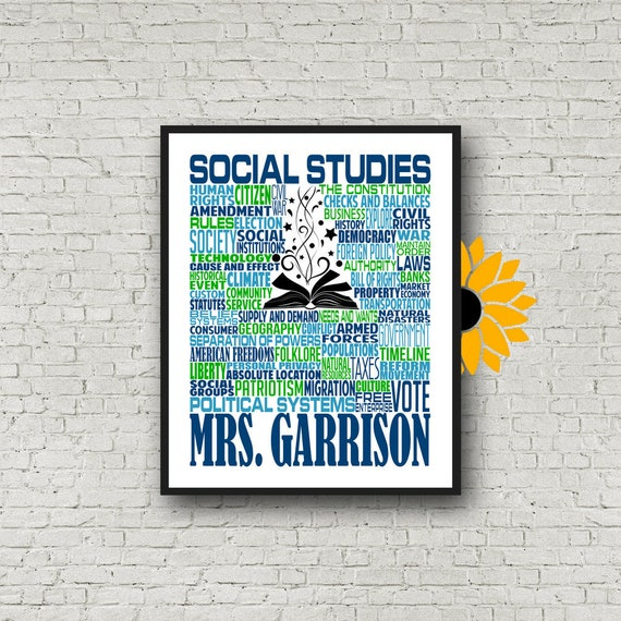 Social Studies Typography, Personalized Social Studies Teacher Poster, Social Studies Teacher Gift, Gift for Social Studies Teacher