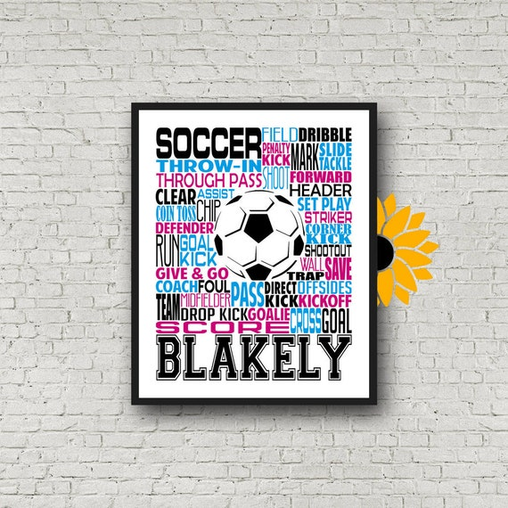 Gift for Soccer Player, Personalized Soccer Poster, Girls Soccer Typography, Soccer Gift, Soccer Team Gift, Soccer Print, Soccer Player Art