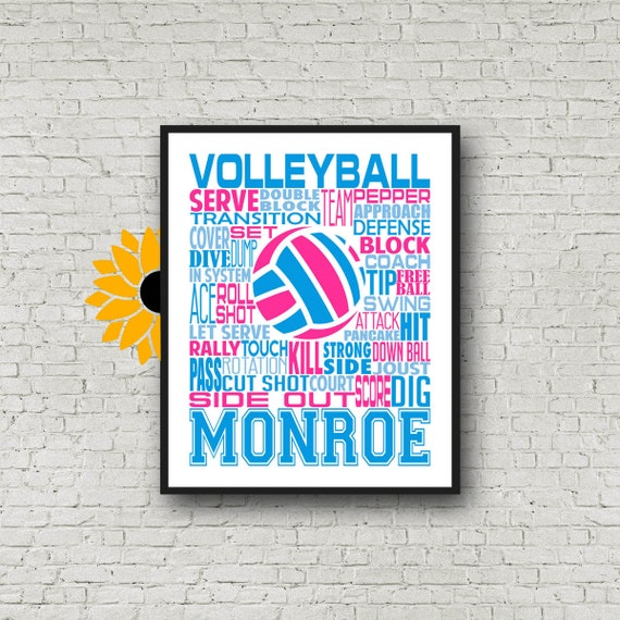 Volleyball Typography, Volleyball Word Art, Volleyball Team Gift, Volleyball Poster, Personalized Volleyball Poster, Girls Volleyball Gift