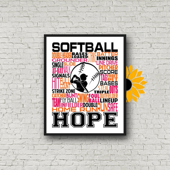 Gift for Softball Player, Personalized Softball Poster Typography, Softball Gift Ideas, Softball Wall Art, Softball Team Gift