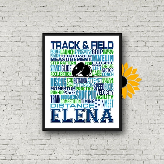 Track & Field Thrower, Shot Put and Discus Thrower, Personalized Shot Put Thrower Poster, Javelin Thrower, Shot Put Typography,