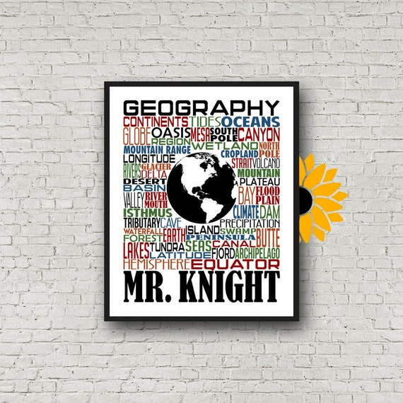 Personalized Geography Teacher Poster, Geography Typography, Geography Teacher Gift, Gift for Geography Teacher, Geography Poster