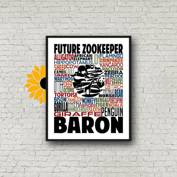 Zookeeper Typography, Personalized Zookeeper Poster, Gift For Future Zookeeper, Zookeeper Student Gift, Future Zookeeper, Zookeeper Gift