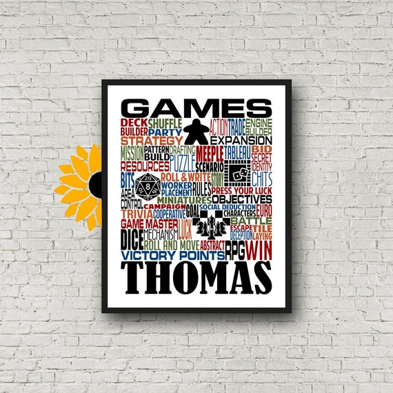 Gift for Board Game Player, Board Game Typography, Board Game Poster, Meeple Poster, RPG Gaming Gift, Gift for Game Player, Dice Game Gift