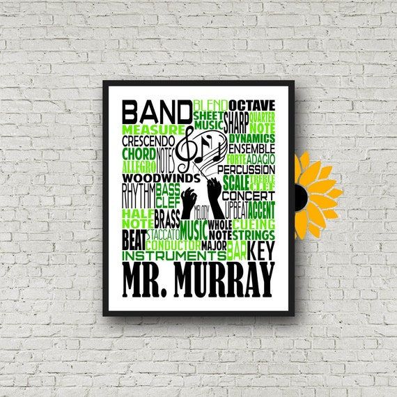 Personalized Band Teacher Poster, Band Typography, Band Teacher Gift, Gift for Music Teacher, Band Instructor, Conductor Gift, Marching Band