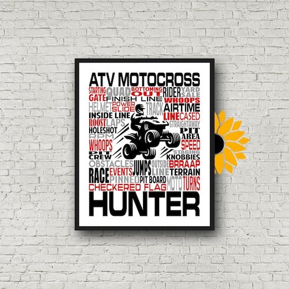 Personalized ATV Motocross Poster, Gift for ATV Motocross, Motocross Art, QuadCross, ATV Quad Racing, Atv Mx Racing,
