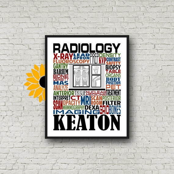 Radiology Typography, Personalized Radiology Poster, Radiology Gift, Radiologist Gift, Gift for Radiologist, X-Ray Tech, Rad Tech Week