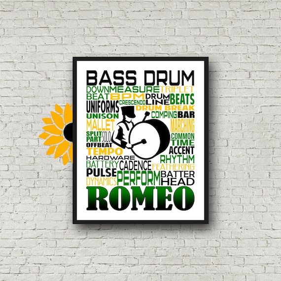 Bass Drum Typography, Personalized Bass Drummer Poster, Gift for Drummers, Percussion Art, Marching Band Bass Drum, Marching Band