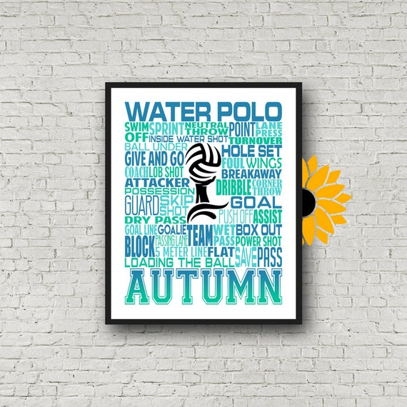 Water Polo Typography, Personalized Water Polo Poster, Gift For Water Polo, Water Polo Gift Ideas, Water Polo Team Gift, Water Polo Art