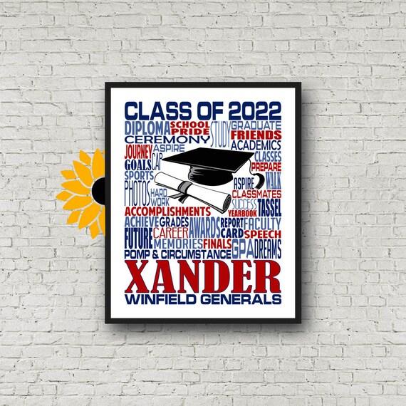 Class of 2021, Graduation Typography, Personalized Graduation Print, Graduation Party Poster, College Graduate, High School Grad Poster