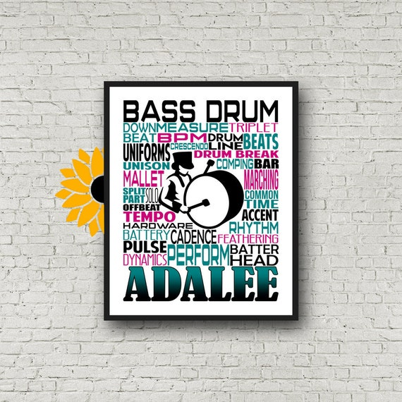 Personalized Bass Drummer Poster, Bass Drum Typography, Gift for Drummers, Percussion Art, Marching Band Bass Drum, Marching Band