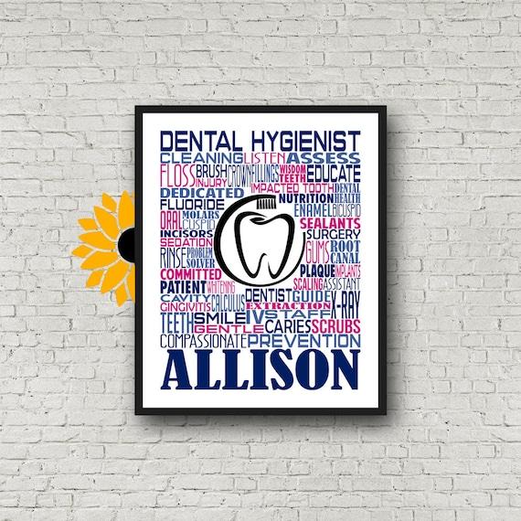 Personalized Dental Hygienist Poster, Dental Hygienist Typography, Gift for Hygienist, Dental Assistant Week, Dental Health Week
