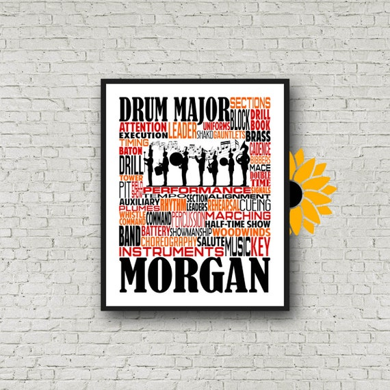 Drum Major Gift, Personalized Drum Major Poster, Drum Major Typography, Gift for Drum Major, Band Instructor, Conductor Gift, Marching Band