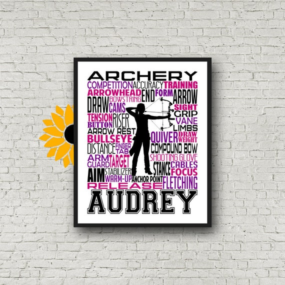 Personalized Archery Gift, Archery Poster, Gift for Archers, Compound Bow Art, Compound Bow Poster, Archery Typography, Archery Team Gift