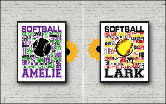 Softball Gift, Softball Art, Softball Poster, Softball Typography, Softball Player Gift, Print, Softball Personalized, Softball Pitcher
