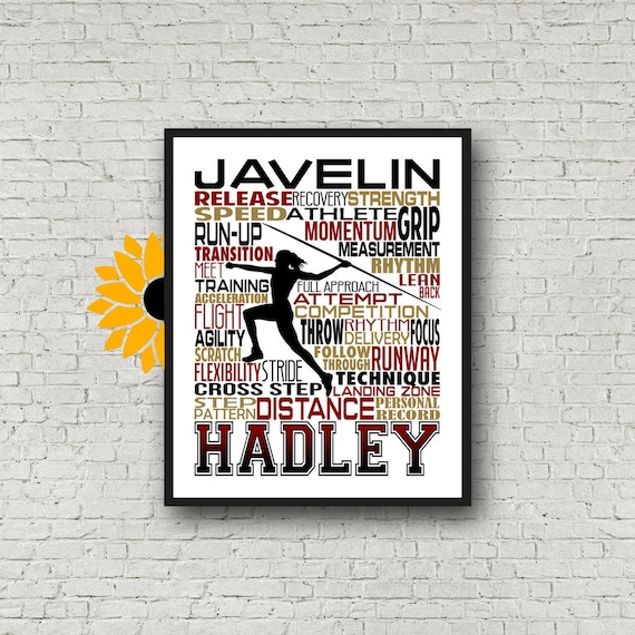 Personalized Javelin Thrower Poster, Gift for Javelin, Track and Field gift, Track Team gift, Javelin Typography, Pole Vaulter Gift