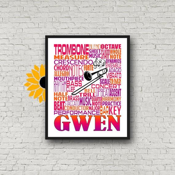 Personalized Trombone Poster, Trombone Typography, Trombone Player Gift, Marching Band, Trombone Gift, Custom Trombone, Gift Trombone Player