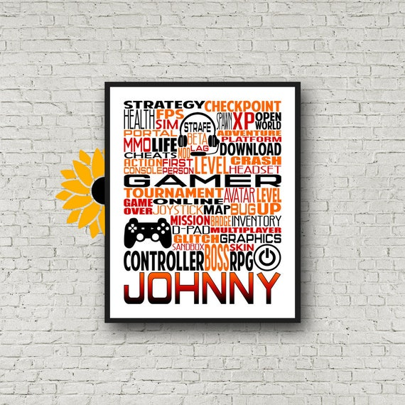 Gamer Typography, Personalized Gamer Poster, Gift For Gamer, Video Game Gift Ideas, Video Game Team Gift, Gift for Video Gamer, Video Gamer