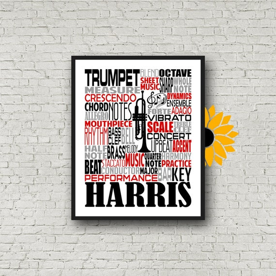 Personalized Trumpet Poster, Trumpet Typography, Gift for Trumpet Player, Band Teacher Gift, Band Typography, Marching Band Typography