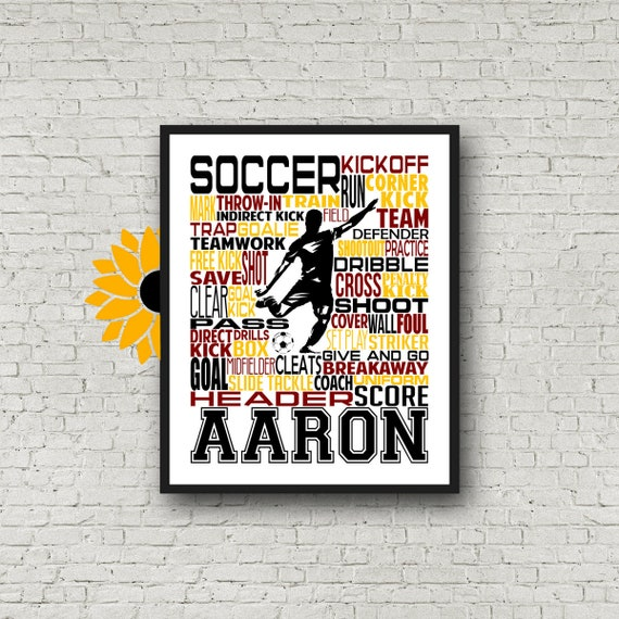 Personalized Soccer Poster Typography, Soccer Gift, Gift for Soccer Player, Soccer Art, Soccer Print, Coach Gift, Soccer Team Gift