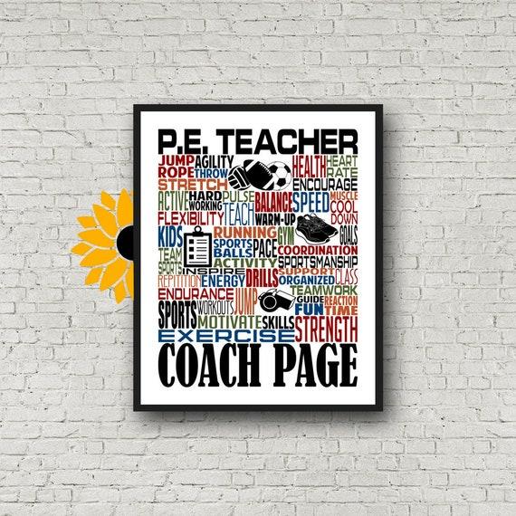 Personalized P.E. Teach Poster, P.E. Teacher Typography, Phys Ed Teacher Gift, Gift for Physical Education Teacher, PE Teacher Gift