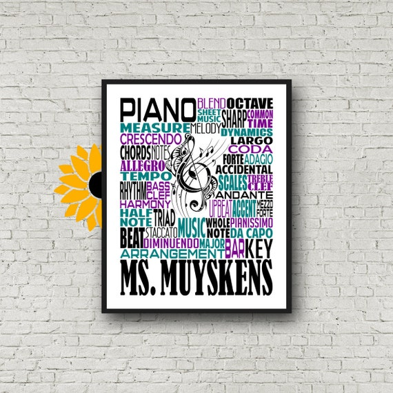 Gift for Piano Teacher, Personalized Piano Poster, Piano Typography, Piano Art, Piano Gift, Gift for Piano Player, School Band Gift
