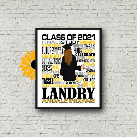 Personalized Graduation Print, Graduation Party Poster, College Graduate, Class of 2021, High School Grad Poster, Graduation Typography