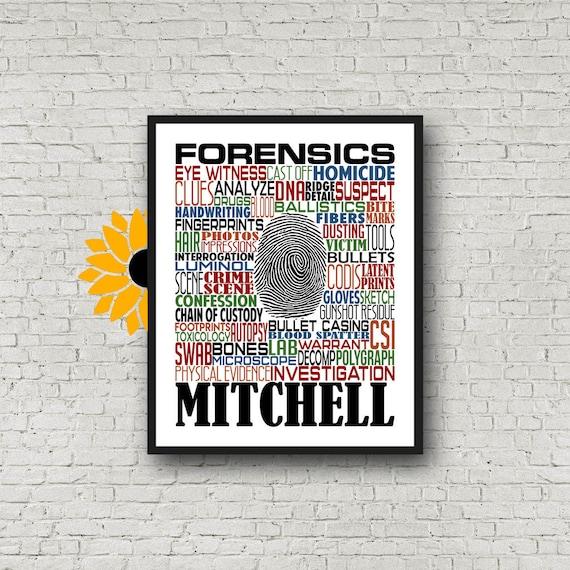 Forensics Typography, Personalized Forensics Teacher Poster, Forensics Teacher Gift, Gift for Forensics Teacher, Crime Scene Investigator