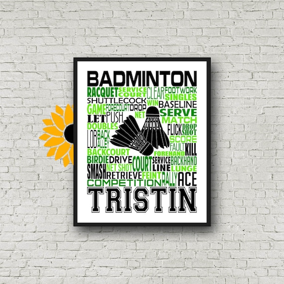 Gift for Badminton Player, Personalized Badminton Poster, Badminton Gift Ideas, Tennis Gift Art, Badminton Typography, Badminton Team Gift