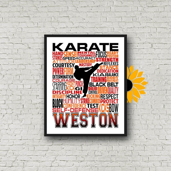 Karate Typography, Personalized Karate Poster, Karate Gift, Gift for Karate, Karate Art, Karate Print, Karate Team Gift