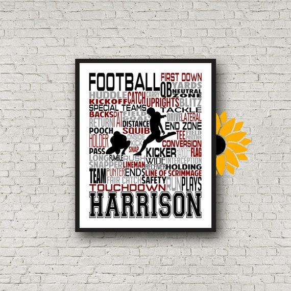 Personalized Football Poster, Football Typography, Football Punter, Football Team Gift, Coach Gift, Football Coach Gift, Gift for Football