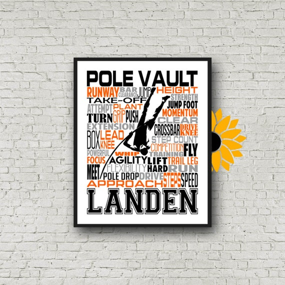Personalized Pole Vaulting Poster, Gift for Pole Vaulter, Pole Vaulting Typography, Track and Field Print, Track Team Gift, Pole Vaulter
