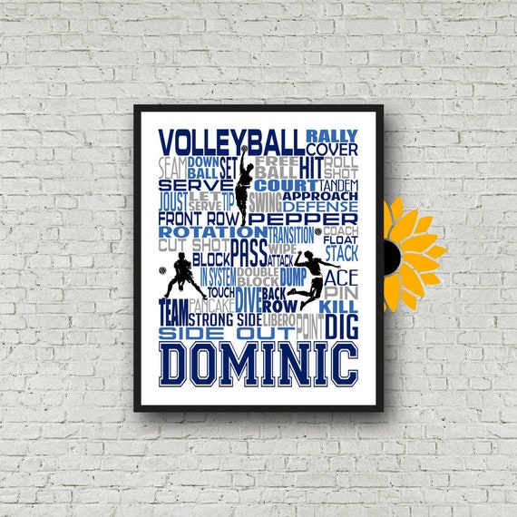 Male Volleyball Player Gift, Personalized Volleyball Poster, Personalized Volleyball Typography, Volleyball Guy, Volleyball Team Gift